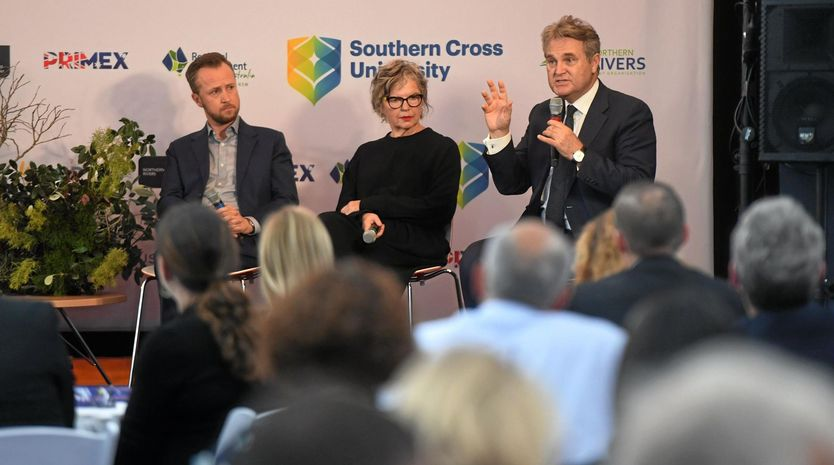 Ben Roche, Pam Brook and Bernard Salt at Future Northern Rivers event